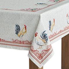 Maison d' Hermine Campagne Cotton Tablecloth for Kitchen Dinning Tabletop Decoration Parties Weddings Spring Summer (Rectangle, 54 Inch by 72 Inch) Outdoor Tablecloth, Vinyl Tablecloth, Vintage Tablecloths, Dining Table In Kitchen, Kitchen Decor, Boho Kitchen, Dining Room, Burlap Table Runners, Thing 1