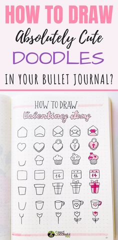How to Draw Absolutely Cute Doodles in Your Bullet Journal If you like doodling, check out these simple and fun Bullet Journal Doodles Ideas that you can easily recreate. Bullet Journal Ideas, Bullet Journal Doodles, Bullet Journal Headers, Bullet Journal Inspiration, Valentine Doodle, Valentines Day Drawing, Bujo Doodles, Simple Doodles, Journal Layout