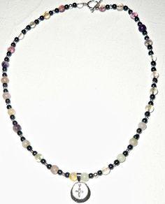 """Men's Necklace Fluorite And Hematite, """"Faith"""" Fluorite And Hematite, 925, Sterling Silver Charm , $110.00"""