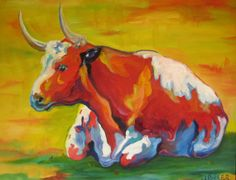 Original Art Expressionist Contemporary Fine Art Modern Oil Painting on Canvas Longhorn Cow Portrait
