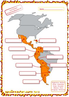 Spanish: Spanish Speaking Countries - Map Activity 1 More