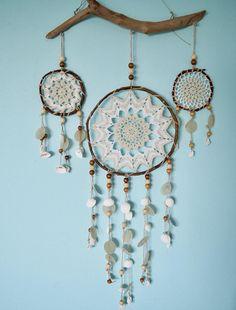 Dreamcatcher medium with capiz shells Handcrafted crochet