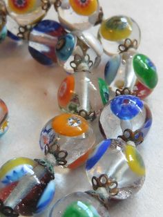 clear glass millefiore beads