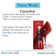 Funny Words: Chick-flick English Vinglish, English Tips, English Idioms, English Phrases, English Study, English Words, English Lessons, English Vocabulary, English Grammar