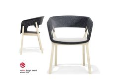 Straight lines with delicate curves. You can tell at first glance that Njord is rather exceptional! The material wood is worked into an unusually slender frame. The seat shell, entirely made of anthracite polyester felt, seduces with its organic desig