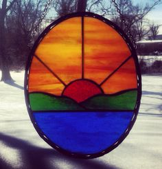 Stained Glass Oval Sunset and Lake Panel by missourijewel on Etsy, $50.00