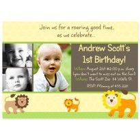 Safari Jungle Animal Zoo Party Invitation for birthday or baby