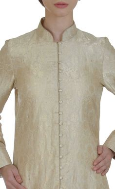 Cream-Gold Handwoven Banarasi Zari Pure Brocade Silk Jacket