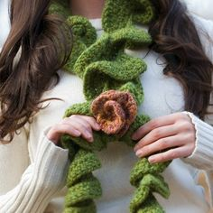 Curly Rose Scarf Crochet Pattern PDF