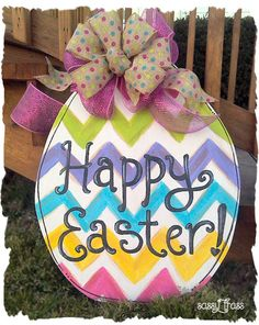 Sassy Easter Chevron Egg Door Hanger or Yard Sign on Etsy, $40.00
