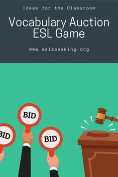 Find out all the details you need to know about this auction game that's ideal for helping English learners review vocabulary. Try out this student-centred, engaging and interactive ESL auction game today. #auction #auctiongame #auctions #eslgame #eslgames #activity #eslactivity #eslactivities #eslspeaking #eslgrammar #eslvocabulary #review #eslreview #grammar #vocabulary #teaching #teachingenglish #education Efl Teaching, Free Teaching Resources, Teaching English Grammar, English Vocabulary, Speaking Games, Teaching Materials, English Lessons, Fun Games, Esl