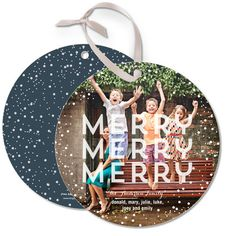 Merry Snow Globe - Ornament Cards by Ann Kelle for Tiny Prints in White. #ChristmasCards