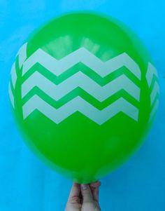Chevron Print on Green 12 Latex Helium Balloon by bevebylaurenfish, $12.00