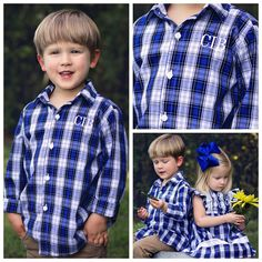 Blue Plaid Button Up Shirt with Free Monogram!