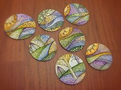 Tiny one inch zentangle/doodle watercolor landscapes - inspiration only photo.What a great idea for round shaped pebbles! Zentangle Drawings, Doodles Zentangles, Zentangle Patterns, Doodle Patterns, Tangle Doodle, Tangle Art, Zen Doodle, Doodle Art, Wow Art