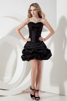 Black A-line / Princess Sweetheart Sequins Little Black Dress Mini-length Taffeta - US$98.56 wonderful black dress  black cocktail dress