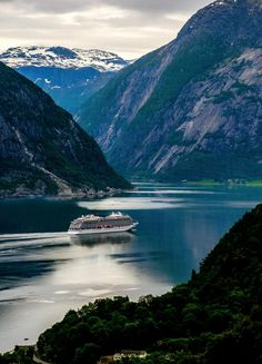 Our newest ship, Viking Sky, sailed through Eidfjord, Norway on her way to be christened in Tromsø.