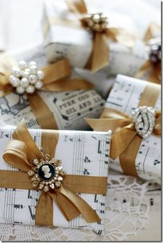 Cool gift wrap idea using music paper. Wrap those music gifts you bought from store.drumbum.com