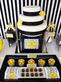 Diary Foods: Black, white and yellow dessert table - Dairy Foods