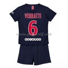 Paris Saint Germain PSG maillot de foot enfant 2018-19 Marco Verratti 6 maillot domicile Psg, Maillot Paris Saint Germain, Saints, Unitards, Asylum