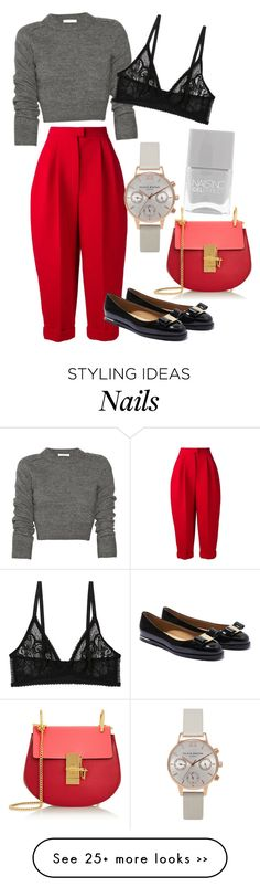 """Fall Look"" by fashion-district on Polyvore featuring Delpozo, Salvatore Ferragamo, Monki, Olivia Burton, Nails Inc., Chloé, red, flats, knit and fallstyle"