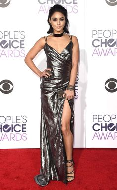 Vanessa Hudgens from 2016 People's Choice Awards Red Carpet Arrivals  The Grease: Live star turns heads with her metallic silver lame gown with a gathered front and side slit from KAYAT'S Resort 2016 Collection.