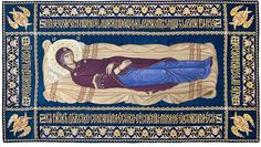 Epitaphion of the Dormition of the Mother of God Byzantine Icons, Art Icon, Gold Work, Orthodox Icons, Virgin Mary, How To Fall Asleep, Heaven, Embroidery, Pattern
