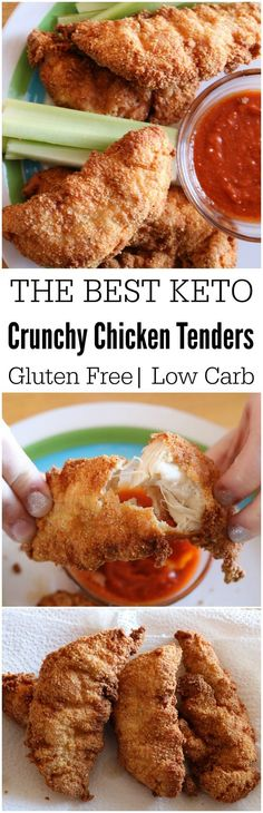 Keto Chicken Tenders- Only CARBS compared to Eating Keto? Don't give up foods you love. Simply find alternatives that are just as delicious, like these super moist & crunchy keto chicken tenders. Ketogenic Recipes, Low Carb Recipes, Diet Recipes, Healthy Recipes, Recipes Dinner, Recipies, Lunch Recipes, Healthy Meals, Shrimp Recipes