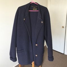 100% wool jacket 100% wool oversized jacket by Geiger Austria. In excellent condition. Worn couple times. Size European 36. Dark blue shade. Gorgeous piece. A little big for me. Geiger Jackets & Coats Blazers