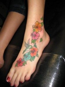 Wrapped around ankle. Different flowers