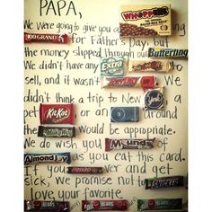 Father's Day candy card on poster board. Perfect for any dad or grandpa!