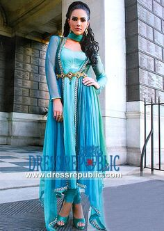 Cayma Emran Designer Dress in Aqua buy online from Lahore