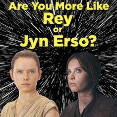 Are You More Like Rey Or Jyn Erso? I got Rey. It's a win-win either way. Avengers Women, Geek Girls, Reylo, Nerd Geek, Quizzes, Doctor Who, Nerdy, Harry Potter, Star Wars