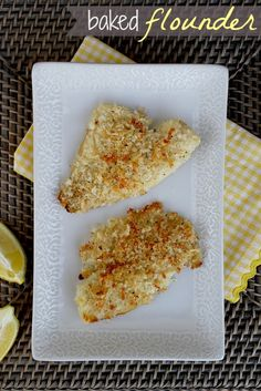 Easy kid-friendly baked flounder recipe *Try cooking longer than Maybe minutes instead. Fish Recipes, Seafood Recipes, New Recipes, Dinner Recipes, Cooking Recipes, Favorite Recipes, Healthy Recipes, Cooking Ideas, Food Ideas