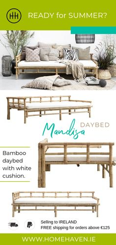 Take this home! Handmade nature coloured bamboo daybed with white cushion for both indoor and outdoor use. Bamboo Furniture, Garden Furniture, Outdoor Furniture, Tropical Style, Tropical Decor, Trendy Home Decor, White Cushions, Rustic White, Design Your Home