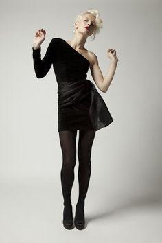 Black velvet dress with organza detail