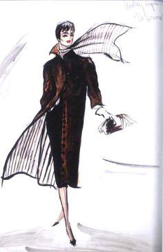 "Illustration - Edith Head Sketch for Audrey Hepburn in ""Sabrina"","
