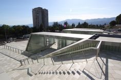 Completed in 2008 in Rijeka, Croatia. Images by Domagoj Blazevic + Situated in Rijeka's quarter Zamet, the new Zamet Centre in complete size of 16830 hosts various facilities: sports hall with max 2380 seats,. Arch Building, Building Exterior, Luz Natural, Stairs Architecture, Architecture Design, Sprinkler Installation, Spiral Stairs Design, Auditorium Design, Exterior Stairs
