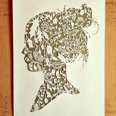 Cool intricate papercutting design—silhouette of a girl❣ by Ali Harrison • lightpaper • Etsy • via Flickr