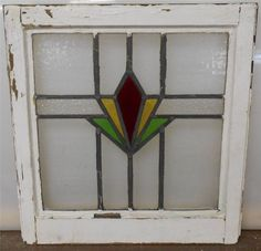 """OLD ENGLISH LEADED STAINED GLASS WINDOW Geometric Burst design 18.25"""" x 19"""""""