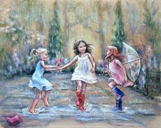 """Dancing, rain, wall art, three girls """"Come Dance With Me My Friends!"""" Laurie Shanholtzer Canvas or paper Art prints of original painting,"""