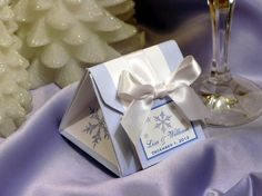 WINTER SNOWFLAKE WEDDING origami favor box - great for weddings bridal showers or corporate parties on Etsy, $1.75