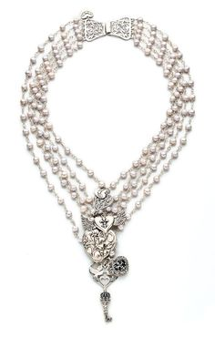 Jewelry Design - Multi-Strand Necklace with Cultured Freshwater Pearls and Sterling Silver Charms - Fire Mountain Gems and Beads