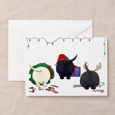 scottish terrier vintage xmas cards\ nothing butt scotties