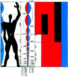 Le Corbusier, The Modulor. Formula for architectural proportion based on the Golden Ratio, the Fibonacci Series, and a slightly idealized male human body. Le Corbusier Architecture, Architecture Design, Architecture Drawings, Proportion Architecture, Chinese Architecture, Architecture Office, Classical Architecture, Futuristic Architecture, Alvar Aalto