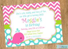 WHALE Printable Invitation, Personalized WHALE Birthday Invite, Birthday Girl, Baby Shower on Etsy, $13.50