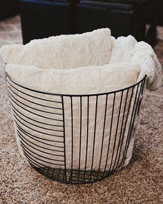 """Finally ended up with one basket I think I like."" At Home find: Black Metal 2 Direct Wire Basket Wire Basket Decor, Black Wire Basket, Large Wire Basket, Wire Basket Storage, Metal Baskets, Large Baskets, Basket Decoration, Hanging Baskets, Wire Laundry Basket"
