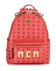 Stark+M+Collection+Studded+Backpack,+Red+by+MCM+at+Neiman+Marcus.