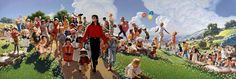 """Field of Dreams Michael Jackson painting from """"Only MJ"""" website ~ Pittura a olio di David Nordahl dal titolo """"Field of Dreams"""", 1989 ~ Michael Jackson Painting, Neverland Ranch, Michael Jackson Neverland, People Figures, Field Of Dreams, David, King Of Music, Steve Harvey, American Singers"""