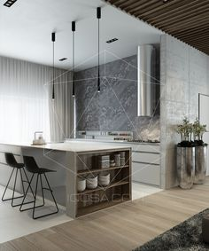 awesome Idée relooking cuisine - Add an effortless touch of class to your home with this modern interior design. Modern Kitchen Design, Interior Design Kitchen, Modern Interior Design, Minimal Kitchen, Minimalist Interior, Minimalist Living, Minimalist Bedroom, Kitchen Dinning, New Kitchen